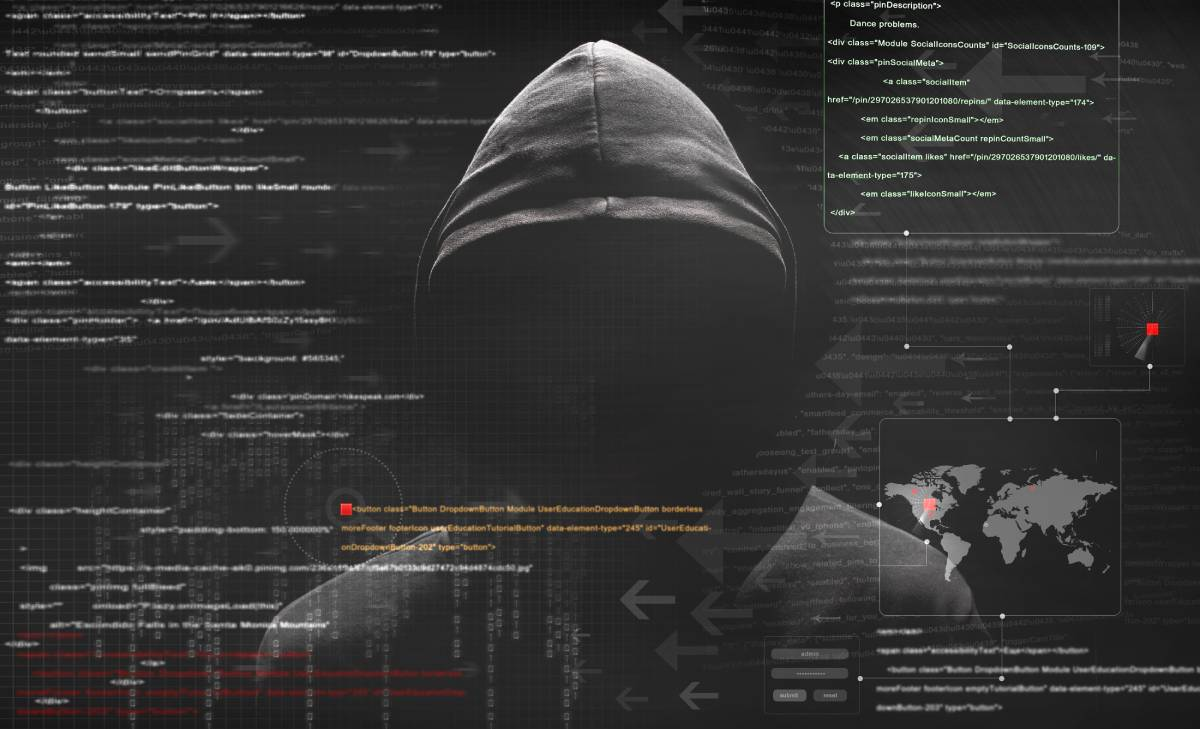 A threatening hooded figure depciting a hacker on a dark background with computer code