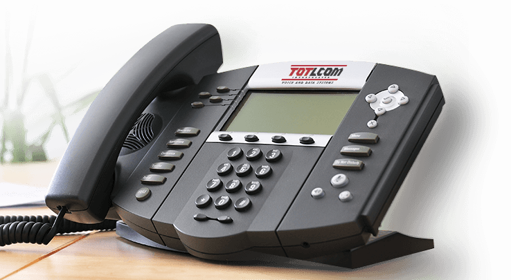 VoIP Desk Phone with TOTLCOM Voice and Data Systems Logo